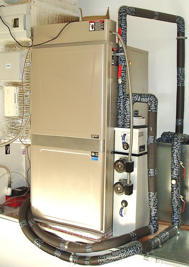 Water-to-Air 3-ton geo heat pump COP=4.9 @41° EWT