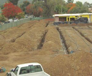 New construction bore field under future parking lot